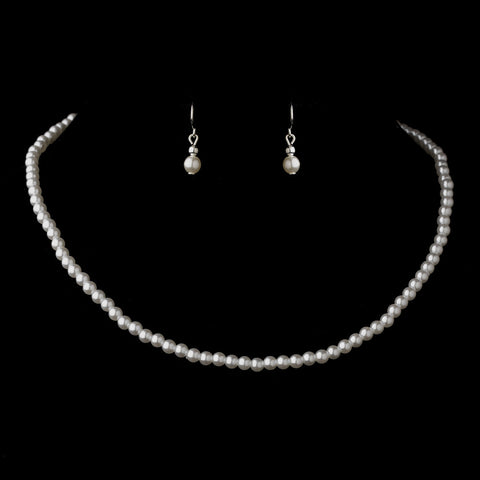 Silver White Pearl Bridal Wedding Necklace 3141 & Bridal Wedding Earrings 6803 Bridal Wedding Jewelry Set