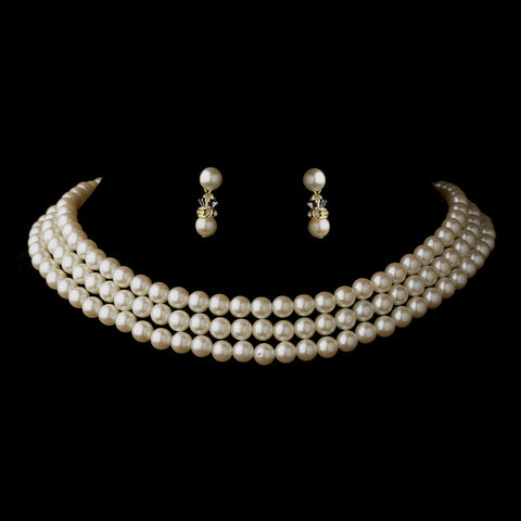 Gold Ivory 3 Row Glass Pearl Choker Bridal Wedding Necklace 3201 & Bridal Wedding Earrings 1402 Bridal Wedding Jewelry Set