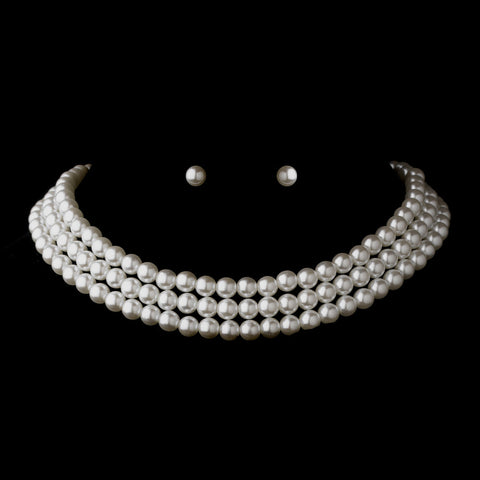 Silver White 3 Row Glass Pearl Choker Bridal Wedding Necklace 3201 & Bridal Wedding Earrings 1402 Bridal Wedding Jewelry Set