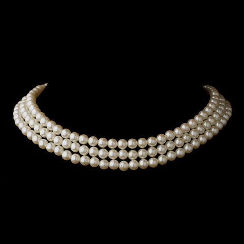 Gold Ivory 3 Row Glass Pearl Choker Bridal Wedding Necklace 3201