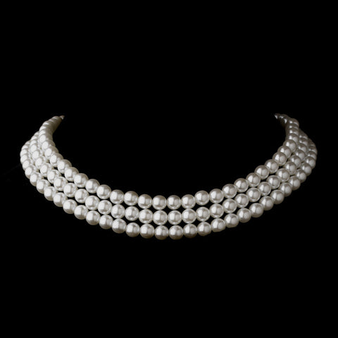 Silver White 3 Row Glass Pearl Choker Bridal Wedding Necklace 3201