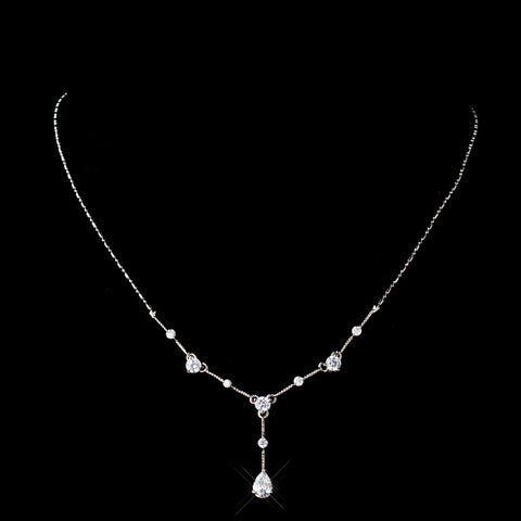 Antique Silver Clear CZ Crystal Bridal Wedding Necklace 3408