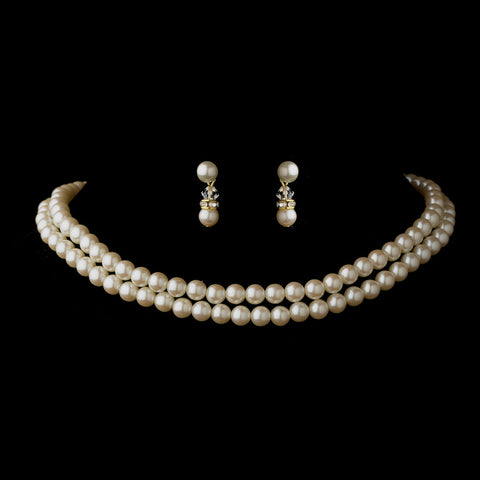 Two Row Gold Ivory Glass Pearl Choker Bridal Wedding Necklace 4121 & Bridal Wedding Earrings 1402 Bridal Wedding Jewelry Set