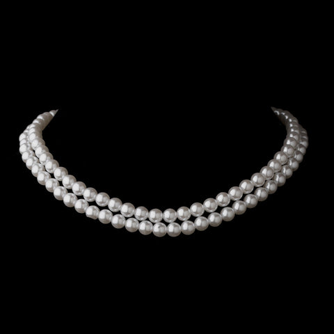Two Row Silver White Glass Pearl Choker Bridal Wedding Necklace 4121