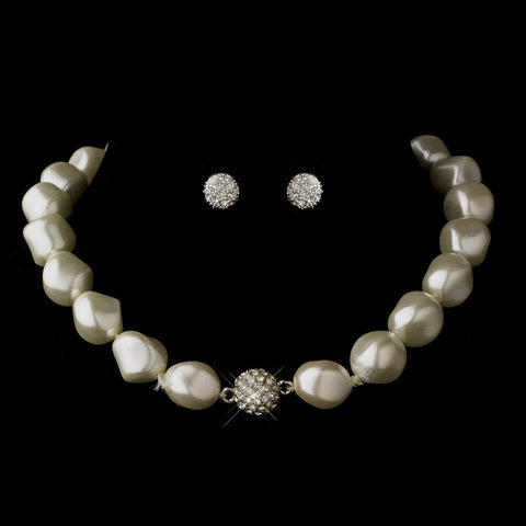 Silver Ivory Pearl & Rondelle Ball Bridal Wedding Necklace 4346 & Bridal Wedding Earrings 0041 Bridal Wedding Jewelry Set