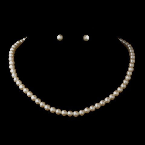 Gold Ivory Pearl Bridal Wedding Necklace 6001 & Bridal Wedding Earrings 6042 Bridal Wedding Jewelry Set