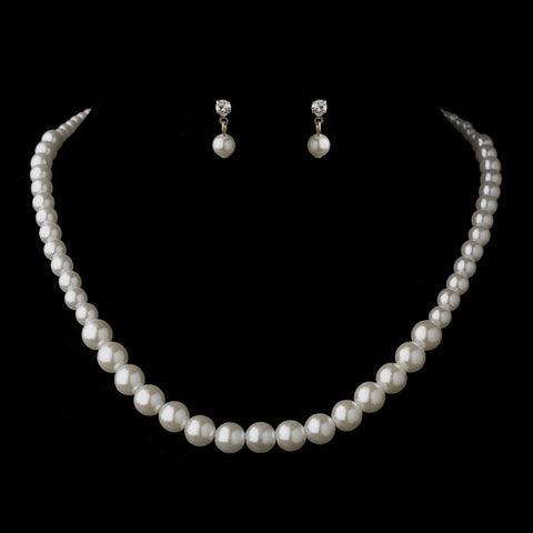 Silver White Pearl Bridal Wedding Necklace 6021 & Bridal Wedding Earrings 1025 Bridal Wedding Jewelry Set