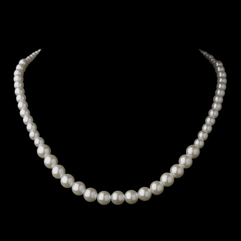 Silver White Pearl Bridal Wedding Necklace 6021