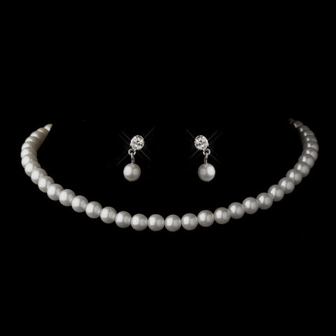 Silver White Pearl Bridal Wedding Necklace 6097 & Bridal Wedding Earrings 1025 Bridal Wedding Jewelry Set