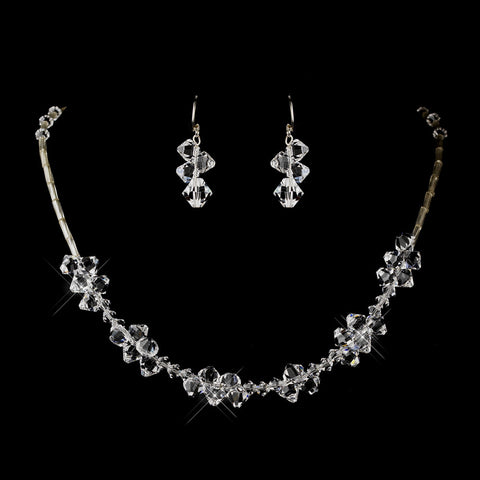 Silver Clear Swarovski Crystal Bead Bridal Wedding Necklace 6610 & Bridal Wedding Earrings 6710