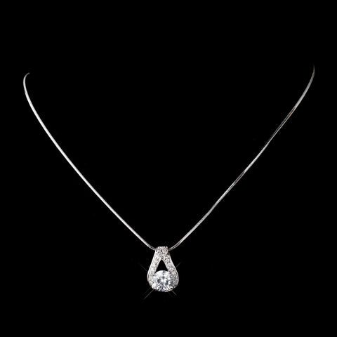 Antique Silver Rhodium Clear CZ Crystal Bridal Wedding Necklace 6653