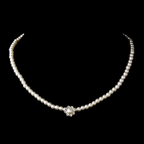 Silver White Pearl & Clear Rhinestone Bridal Wedding Necklace 7202