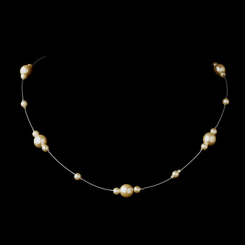 Silver Ivory Pearl Illusion Bridal Wedding Necklace 8601
