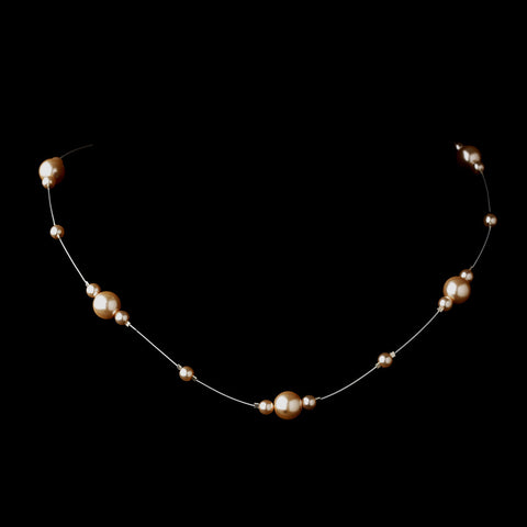 Silver Pink Pearl Illusion Bridal Wedding Necklace 8601
