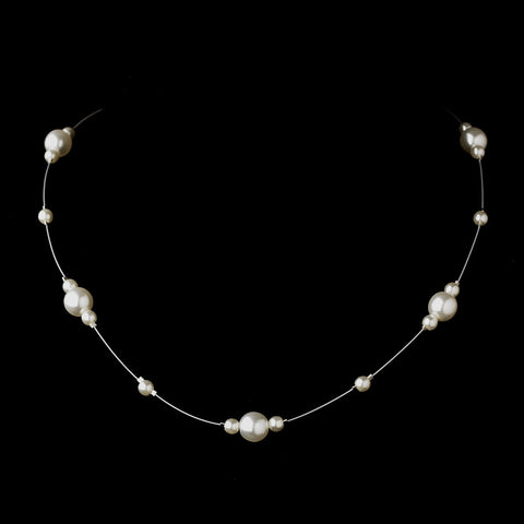Silver White Pearl Illusion Bridal Wedding Necklace 8601