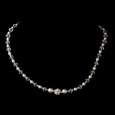 Silver White Czech Glass Pearl, Swarovski Crystal Bead, & Rhinestone Bridal Wedding Necklace 8604