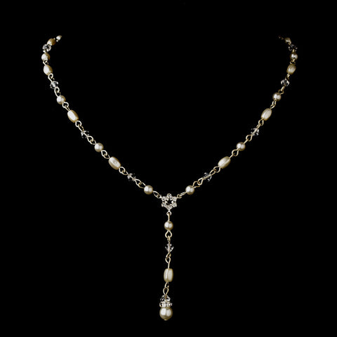 Silver White Czech Glass Pearl, Swarovski Crystal Bead & Rhinestone Bridal Wedding Necklace 8606