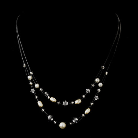 Silver White Glass Pearl, Czech Glass Bead & Swarovski Crystal Bead Illusion Bridal Wedding Necklace 8607