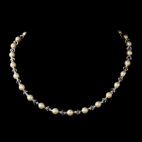 Silver Ivory Czech Glass Pearl and Bead & Swarovski Crystal Bead Bridal Wedding Necklace 8657