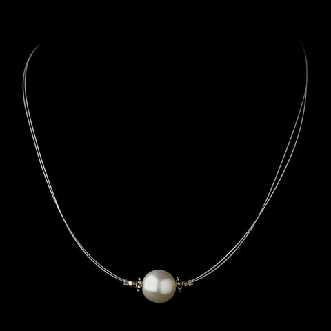 Silver White Czech Glass Pearl & Bali Bead Illusion Bridal Wedding Necklace 8662