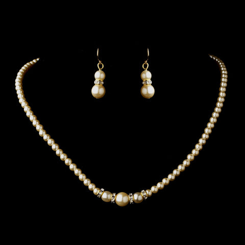 Gold Ivory Czech Glass Pearl & Rhinestone Rondelle Bridal Wedding Necklace 8664 & Bridal Wedding Earrings 8667 Bridal Wedding Jewelry Set