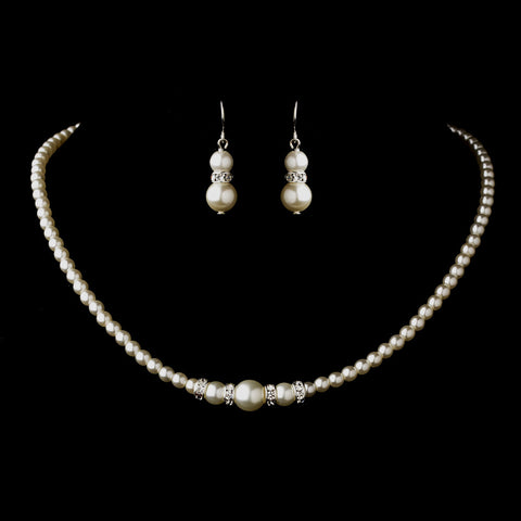 Silver White Czech Glass Pearl & Rhinestone Rondelle Bridal Wedding Necklace 8664 & Bridal Wedding Earrings 8667