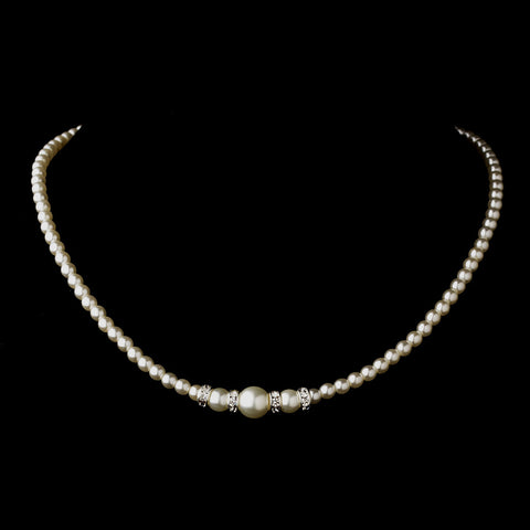 Silver White Czech Glass Pearl & Rhinestone Rondelle Bridal Wedding Necklace 8664
