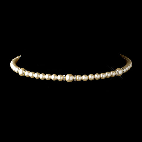 Gold Ivory Czech Glass Pearl & Rhinestone Rondelle Choker Bridal Wedding Necklace 8667