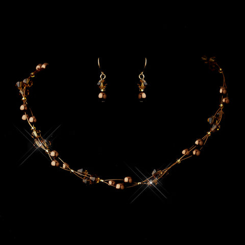 Gold Brown Czech Glass Pearl & Swarovski Crystal Bead Multiweave Illusion Bridal Wedding Necklace 8672 & Bridal Wedding Earrings 2031 Bridal Wedding Jewelry Set
