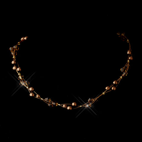 Gold Brown Czech Glass Pearl & Swarovski Crystal Bead Multiweave Illusion Bridal Wedding Necklace 8672