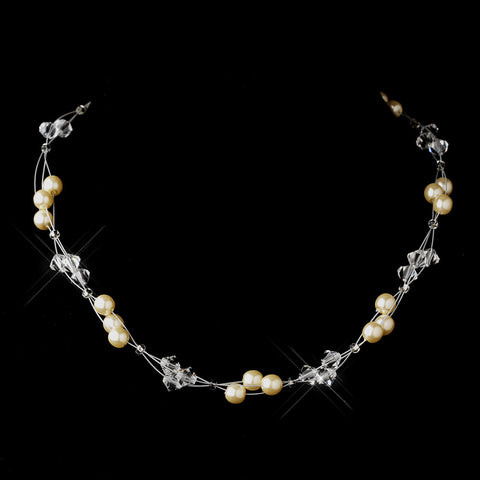 Silver Ivory Czech Glass Pearl & Swarovski Crystal Bead Multiweave Illusion Bridal Wedding Necklace 8672