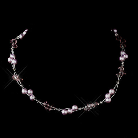 Silver Light Amethyst Czech Glass Pearl & Swarovski Crystal Bead Multiweave Illusion Bridal Wedding Necklace 8672