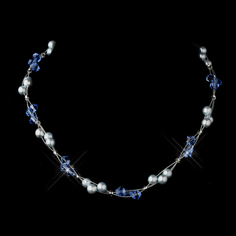 Silver Light Blue Czech Glass Pearl & Swarovski Crystal Bead Multiweave Illusion Bridal Wedding Necklace 8672