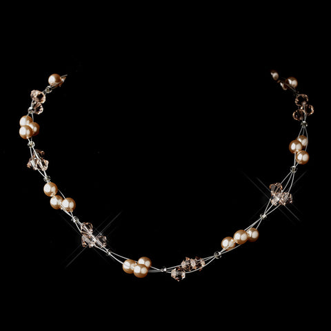 Silver Pink Czech Glass Pearl & Swarovski Crystal Bead Multiweave Illusion Bridal Wedding Necklace 8672
