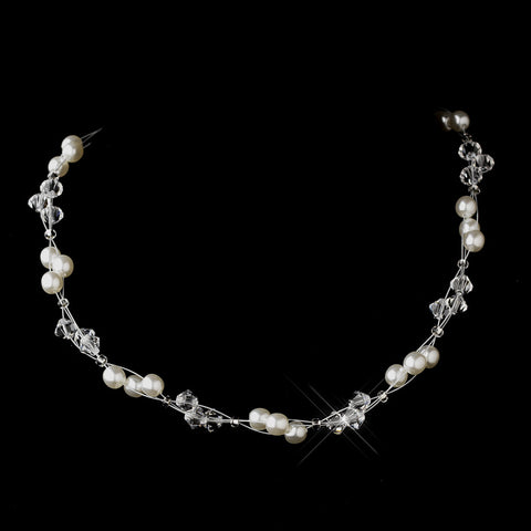 Silver White Czech Glass Pearl & Swarovski Crystal Bead Multiweave Illusion Bridal Wedding Necklace 8672
