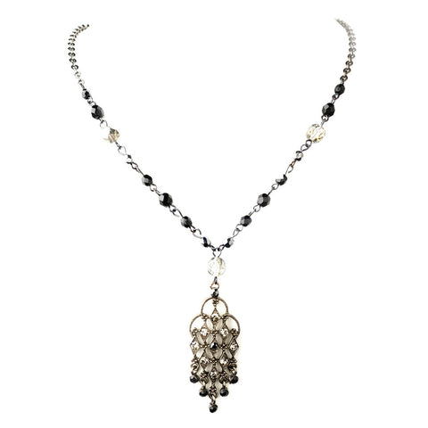 Hematite Black Rhinestone Chandelier Pendant Bridal Wedding Necklace 8716