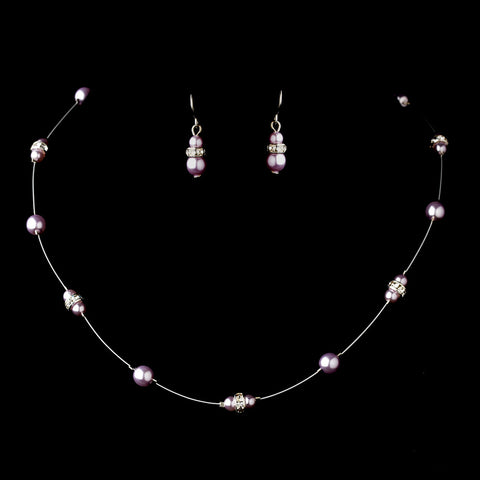 Silver Light Amethyst Czech Glass Pearl & Clear Rhinestone Rondelle Bridal Wedding Jewelry Set 8805