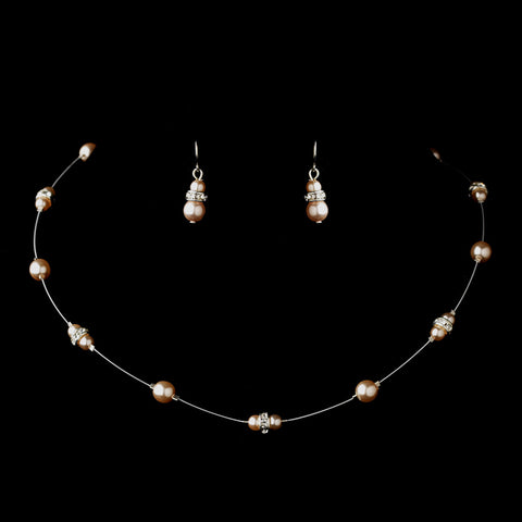 Silver Pink Czech Glass Pearl & Clear Rhinestone Rondelle Bridal Wedding Jewelry Set 8805