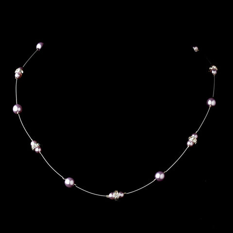 Silver Light Amethyst Czech Glass Pearl & Clear Rhinestone Rondelle Bridal Wedding Necklace 8805