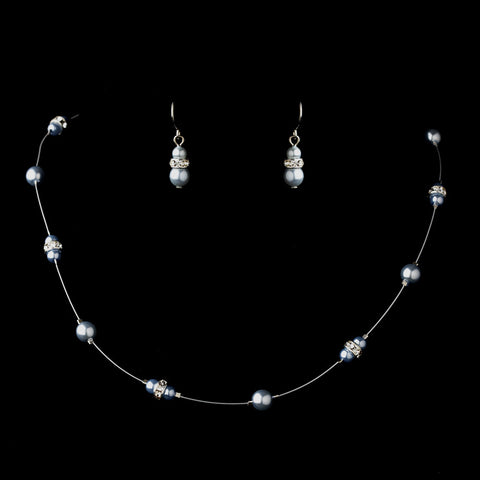 Silver Light Blue Czech Glass Pearl & Clear Rhinestone Rondelle Bridal Wedding Necklace 8805
