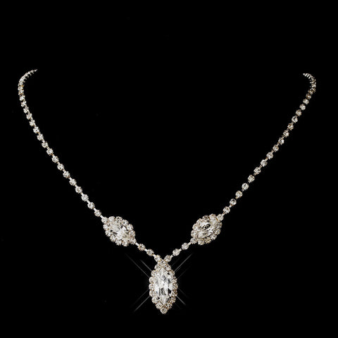 Silver Clear Marquise Rhinestone Bridal Wedding Necklace 8874