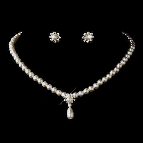 Silver White Glass Pearl & Clear Rhinestone Rondelle Drop Bridal Wedding Necklace 9062 & Bridal Wedding Earrings 7202 Bridal Wedding Jewelry Set
