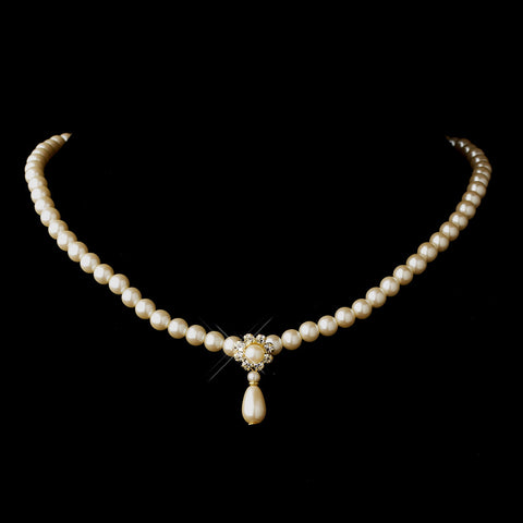 Gold Ivory Glass Pearl & Clear Rhinestone Rondelle Drop Bridal Wedding Necklace 9062