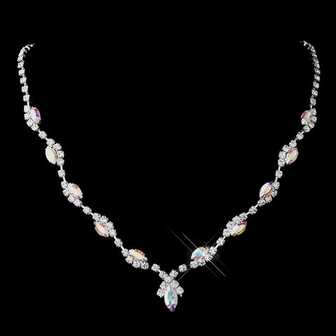 Silver AB Marquise & Clear Round Bridal Wedding Necklace 9341