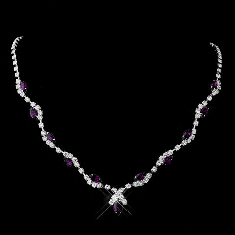 Silver Amethyst Marquise & Clear Round Bridal Wedding Necklace 9341