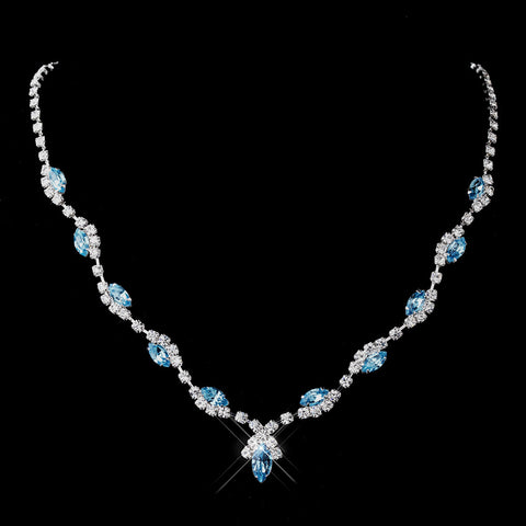 Silver Aqua Marquise & Clear Round Bridal Wedding Necklace 9341