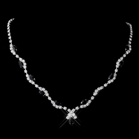 Silver Black Marquise & Clear Round Bridal Wedding Necklace 9341