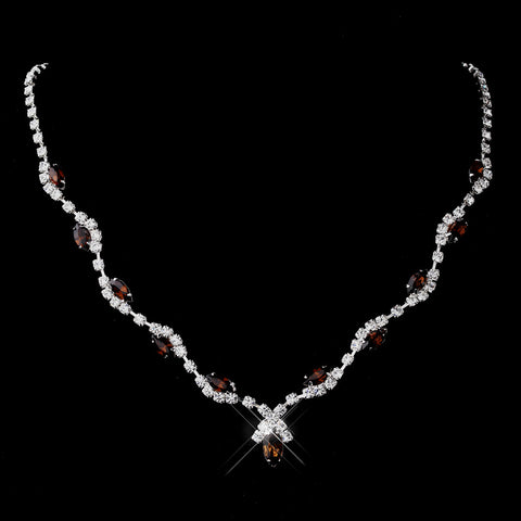 Silver Brown Marquise & Clear Round Bridal Wedding Necklace 9341