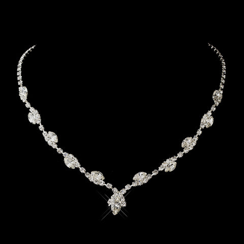 Silver Clear Marquise & Clear Round Bridal Wedding Necklace 9341