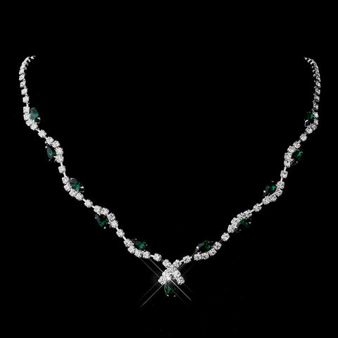 Silver Emerald Marquise & Clear Round Bridal Wedding Necklace 9341